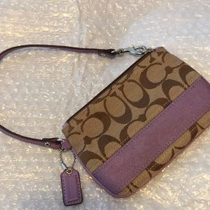 New coach signature wristlet brown and Violet